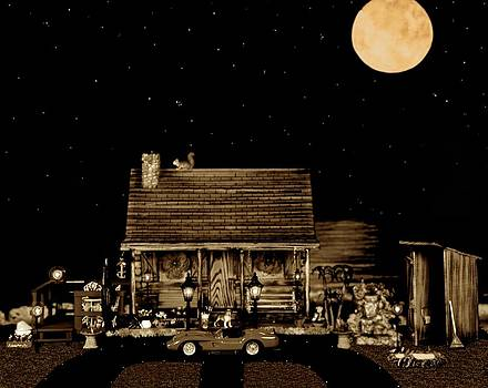 Log Cabin Scene With The Classic Old Vintage 1958 Ferrari 250 Testa Rossa In Sepia Color by Leslie Crotty