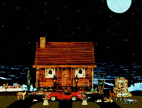 Log Cabin Scene With The Classic Old Vintage 1958 Red Ferrari In Color by Leslie Crotty