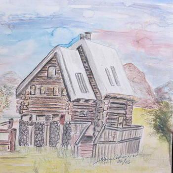Log Home by Karen Mary Castranova