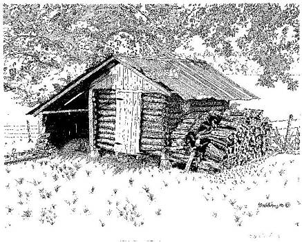 Log Smokehouse by L D Williams