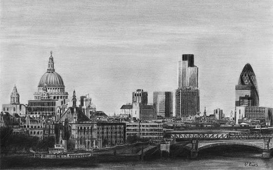 London Skyline Pencil Drawing by David Rives