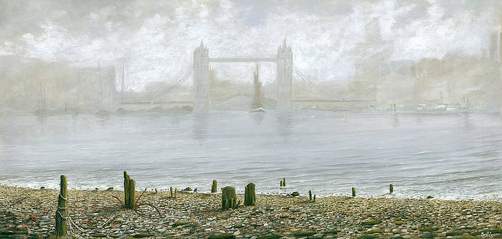 London Tower Bridge at Low Tide by Eric Bellis