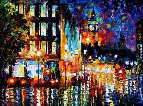 Londons Lights - PALETTE KNIFE Oil Painting On Canvas By Leonid Afremov by Leonid Afremov