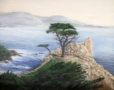 Lone Cypress for Dad by Artist Karen Barton