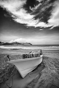 The boat at wild mexico beach BW by M I