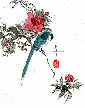 LINDA SMITH - Long Tail Bird and Pomegranate