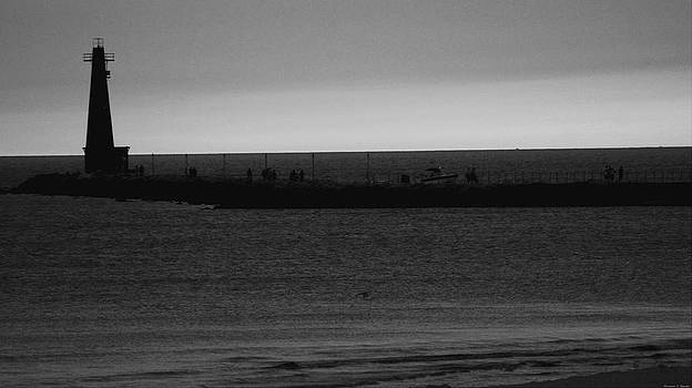 Rosemarie E Seppala - Long Walk On The Pier After Sunset Monochrome