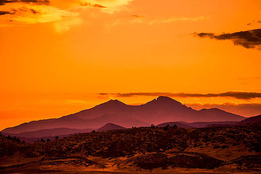 Longs Peak smoke and sunset by Rebecca Adams