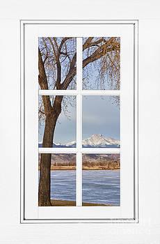 James BO Insogna - Longs Peak Winter View Through a White Window Frame