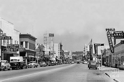 California Views Mr Pat Hathaway Archives - Looking up Pacific Avenue at Elm Street Santa Cruz Circa 1951