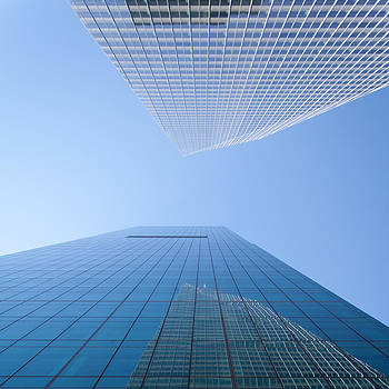 Looking Upwards - colored - New York City by Thomas Richter