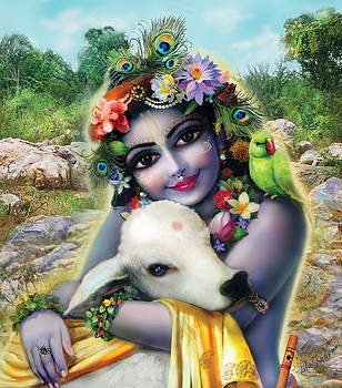 Lord Krishna on the Govardhan by Lila Shravani