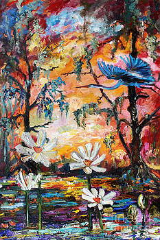 Lotus Flowers and Heron Sunset by Ginette Callaway