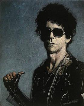 Lou Reed Black Velvet Painting by Diane Bombshelter