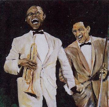 Louis Armstrong And Trummy Young by Udi Peled