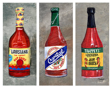 Louisiana Hot Sauce Trio White by Elaine Hodges