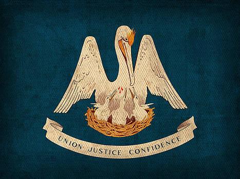 Design Turnpike - Louisiana State Flag Art on Worn Canvas