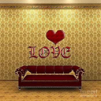 Beverly Claire Kaiya - Love and Deep Red Sofa in a Gold Victorian Room