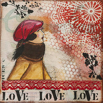 Love Inspirational Mixed Media Folk Art by Stanka Vukelic