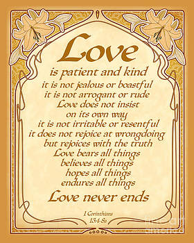 Ginny Gaura - Love Is Patient - Gold Art Nouveau Style