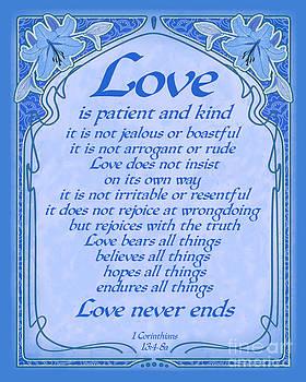 Ginny Gaura - Love Is Patient - Blue Art Nouveau Style