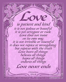 Ginny Gaura - Love Is Patient - Radiant Orchid Art Nouveau Style
