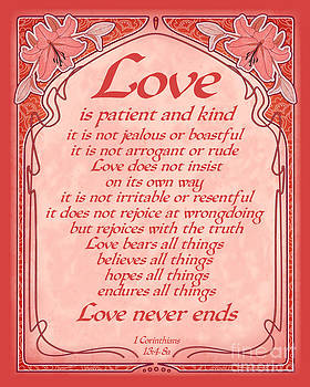 Ginny Gaura - Love Is Patient - Red Art Nouveau Style