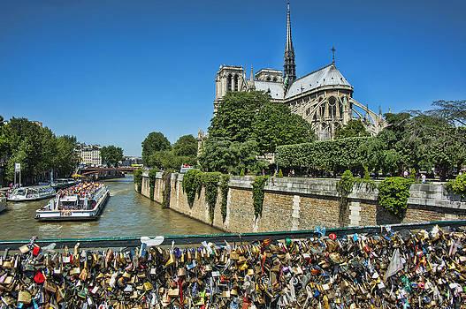 Pam  Elliott - Love locks on bridge by Notre Dame in Paris France
