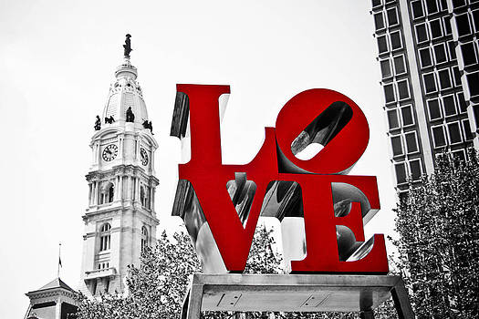 Love Park and City Hall BW by Stacey Granger