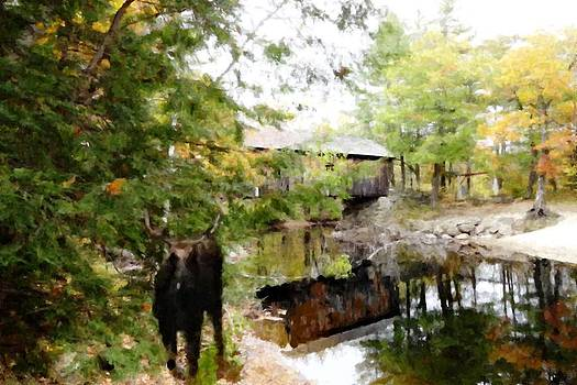 Mike Breau - Lovejoy Covered Bridge and Moose