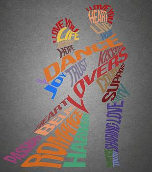 Lovers Dancing Silhouettes Typography by Costinel Floricel