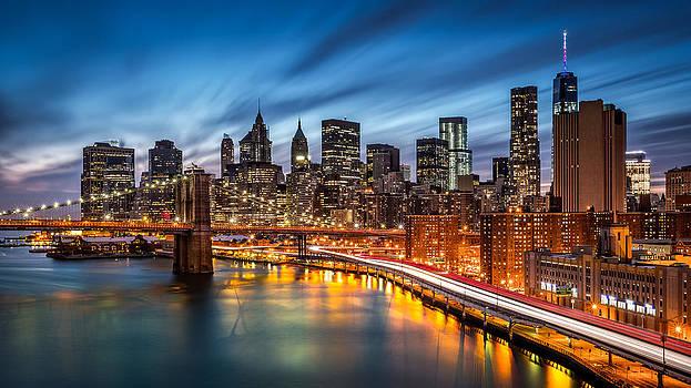 Lower Manhattan at dusk by Mihai Andritoiu
