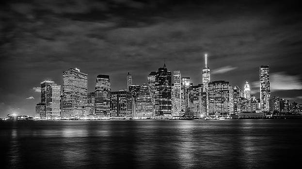 Night skyline of Lower Manhattan from Brooklyn by Dick Wood