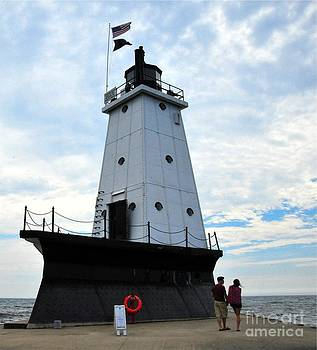 Ludington North Breakwater Light in Michigan by Terri Gostola
