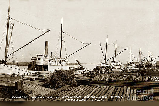 California Views Mr Pat Hathaway Archives - Lumber Steamers unloading at Redwood Mfg. Co.s Wharf Pittsburg Circa 1920