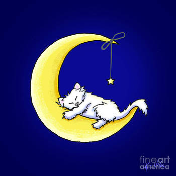 Lunar Love White Cat by Kim Niles