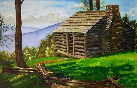 Lunch at an Old Cabin in the Blue Ridge by Nicole Angell