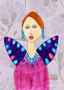 Lupita in a Plum-Colored Dress 2 by Emily Lupita Studio
