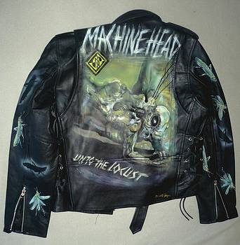Machine Head airbrushed leather jacket by Danielle Vergne