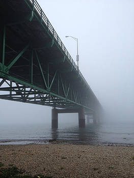 Mackinac Bridge In Fog by Jim Schmidt