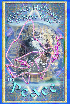 Madonna Dove Chalice and Logos over Globe Holiday Art with text by Christopher Pringer