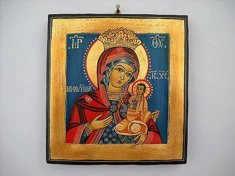 Madonna with Child Jesus  Romanian Byzantine Icon by Denise Clemenco