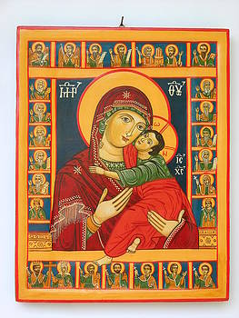 Madonna with Child Jesus surrounded by saints hand painted wooden orthodox icon by Denise Clemenco