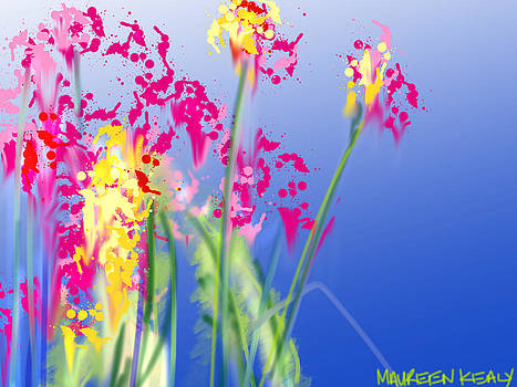 Magenta Flowers on Blue by Maureen Kealy