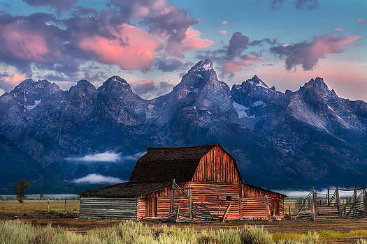 Magenta Morning on Moulton Barn by Kirk Strickland