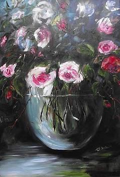Magic roses in glass vase by Elizabeth Kawala
