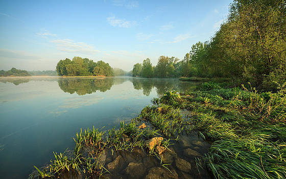 Magic spring morning on river by Davorin Mance