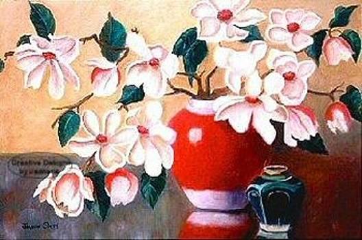 Magnolia flowers in Red Vase by Jeanene Stein