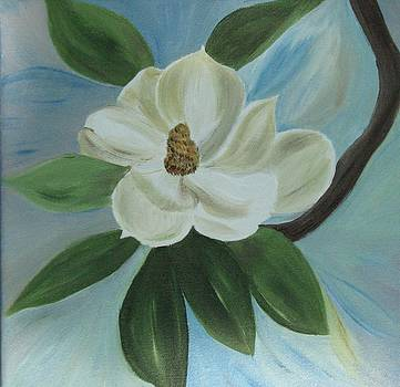 Magnolia on Blue by Paula Peltier