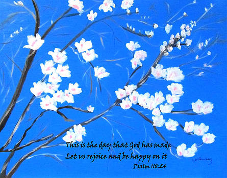 Magnolias in Early Spring with Psalm 118 by Linda Feinberg